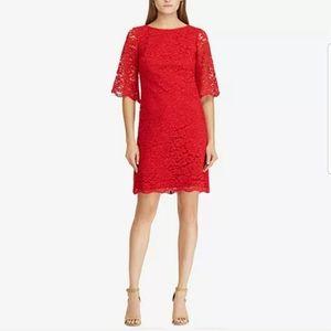 Lauren Ralph Lauren Lace Red Dress Size 8